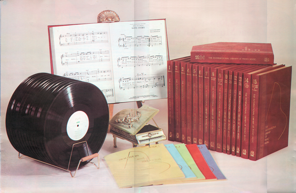 International Library of Piano Music - red-bound volumes and vinyl LP's